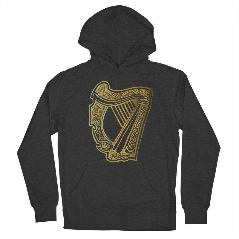 Celtic Harp (Gold) Men's French Terry Pullover Hoody by Celtic Hammer Club Apparel