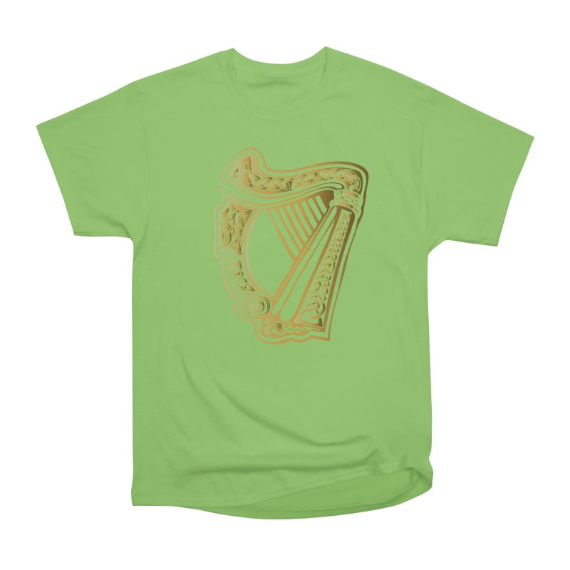 Celtic Harp (Gold) Women's Heavyweight Unisex T-Shirt by Celtic Hammer Club Apparel