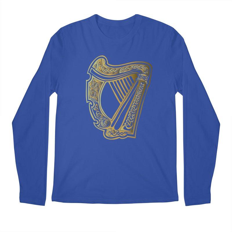 Celtic Harp (Gold) Men's Regular Longsleeve T-Shirt by Celtic Hammer Club Apparel