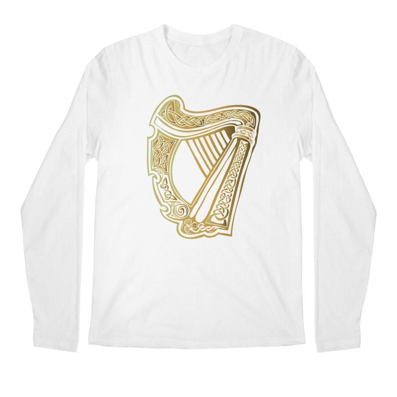 Celtic Harp (Gold) Men's Longsleeve T-Shirt by Celtic Hammer Club Apparel
