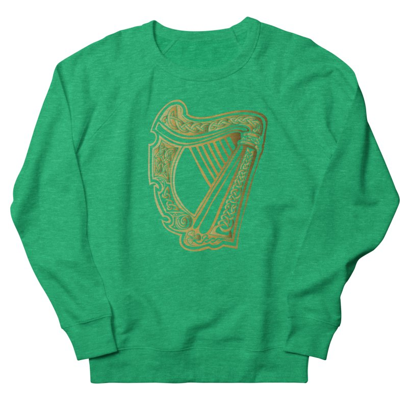Celtic Harp (Gold) Women's French Terry Sweatshirt by Celtic Hammer Club Apparel