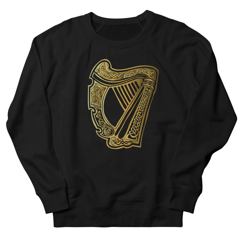 Celtic Harp (Gold) Men's French Terry Sweatshirt by Celtic Hammer Club Apparel