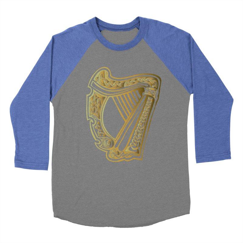 Celtic Harp (Gold) Women's Baseball Triblend Longsleeve T-Shirt by Celtic Hammer Club Apparel