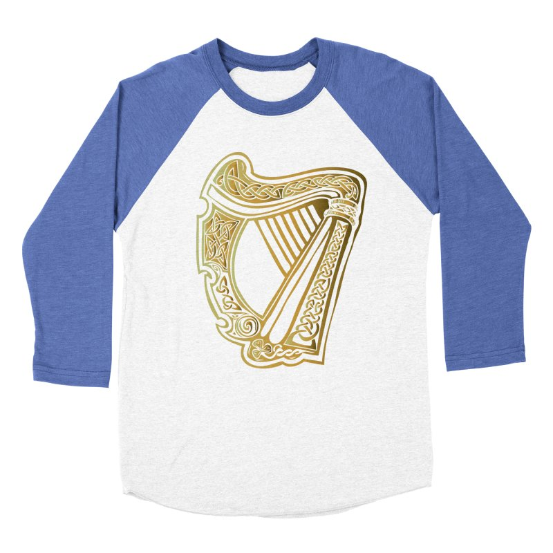 Celtic Harp (Gold) Men's Baseball Triblend T-Shirt by Celtic Hammer Club Apparel
