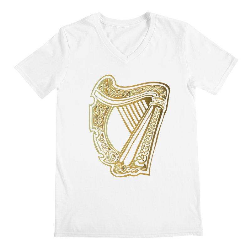 Celtic Harp (Gold) Men's Regular V-Neck by Celtic Hammer Club Apparel