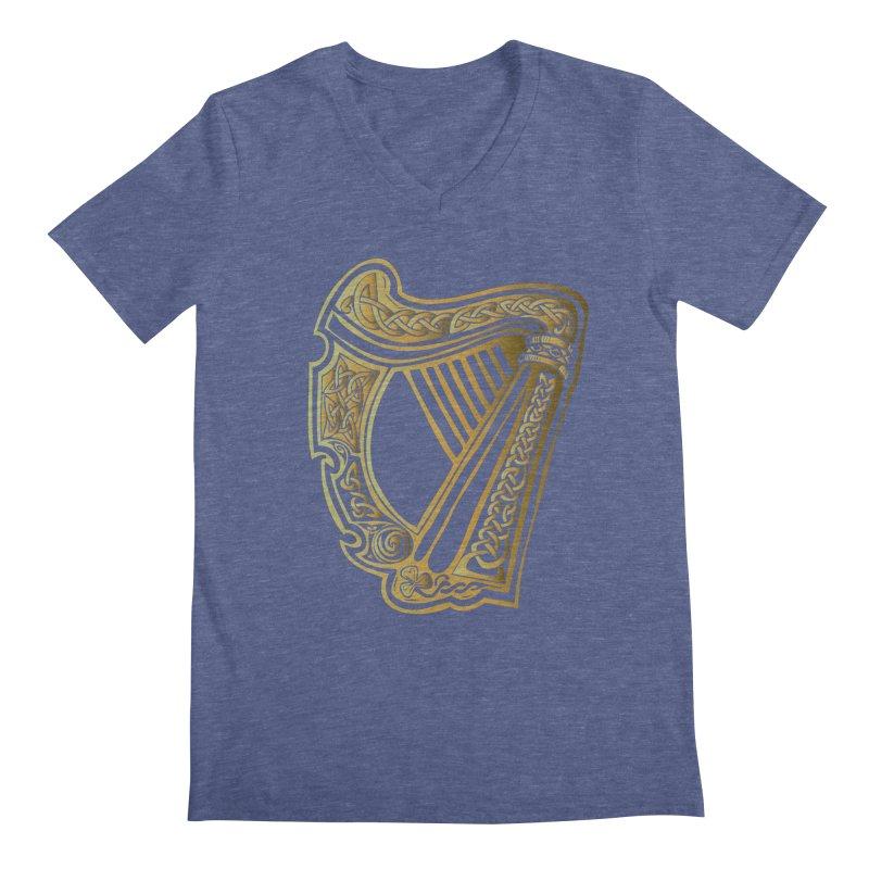 Celtic Harp (Gold) Men's V-Neck by Celtic Hammer Club Apparel