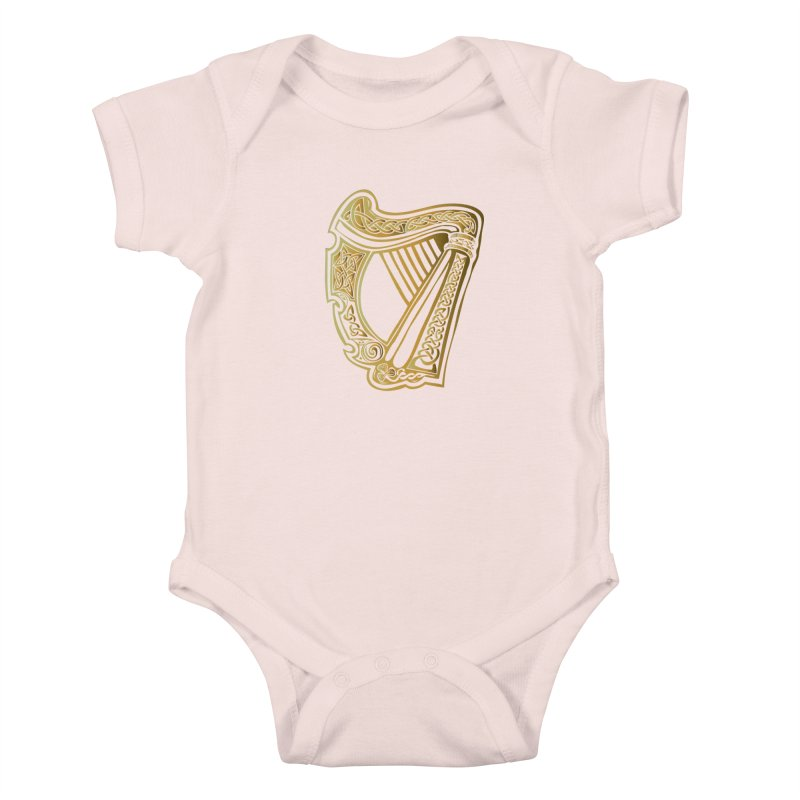 Celtic Harp (Gold) Kids Baby Bodysuit by Celtic Hammer Club Apparel