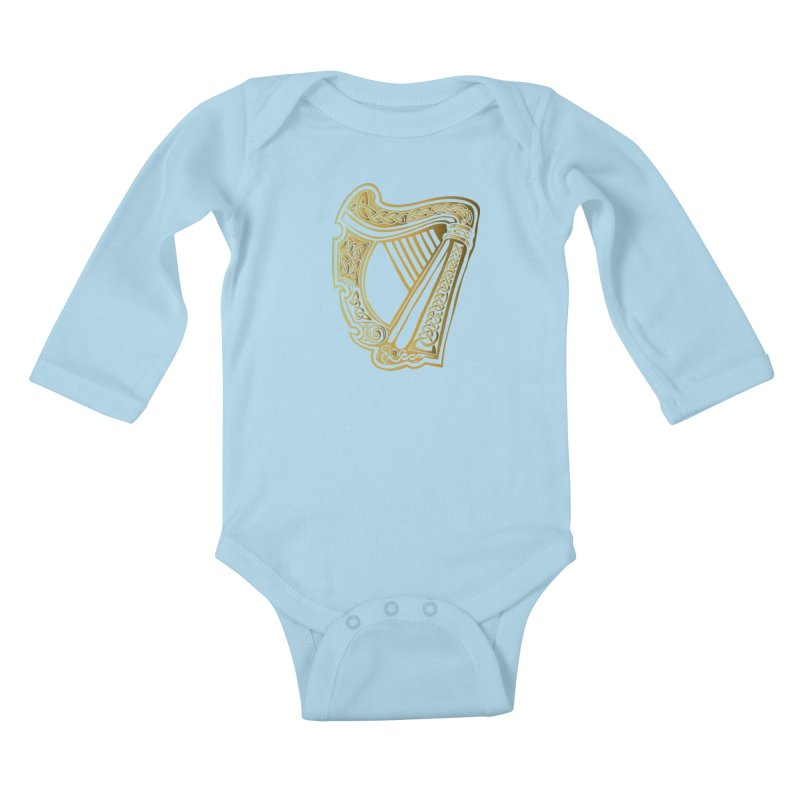 Celtic Harp (Gold) Kids Baby Longsleeve Bodysuit by Celtic Hammer Club Apparel
