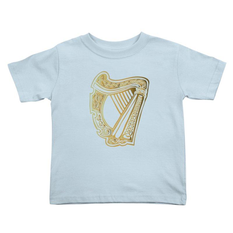 Celtic Harp (Gold) Kids Toddler T-Shirt by Celtic Hammer Club Apparel