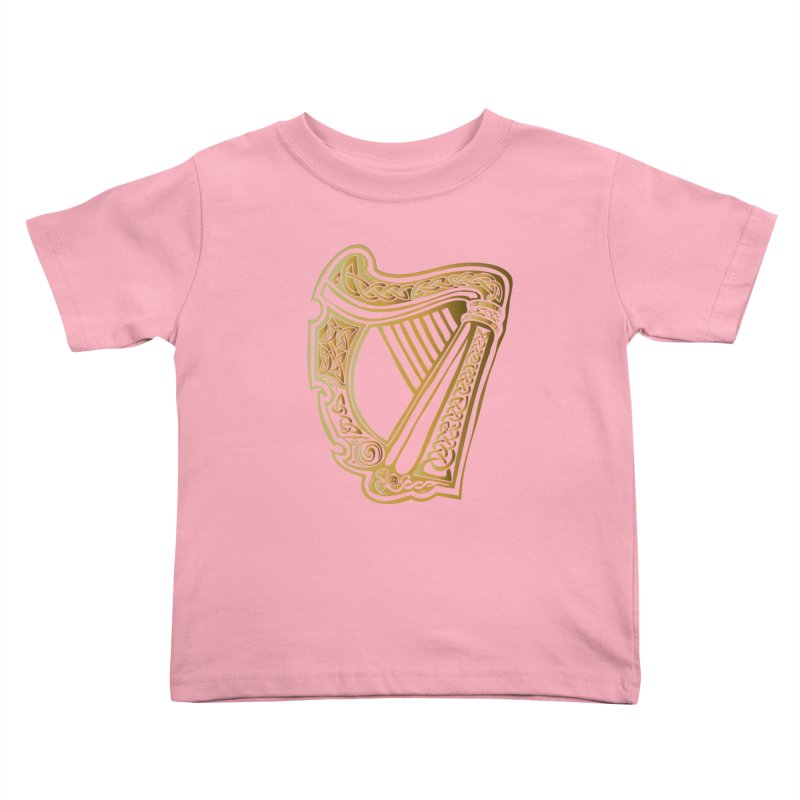 Celtic Harp (Gold) Kids Toddler T-Shirt by Celtic Hammer Club Apparel
