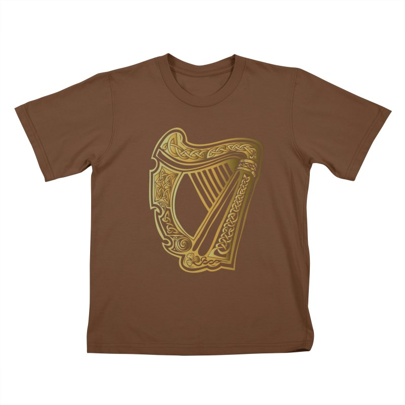Celtic Harp (Gold) Kids T-Shirt by Celtic Hammer Club Apparel
