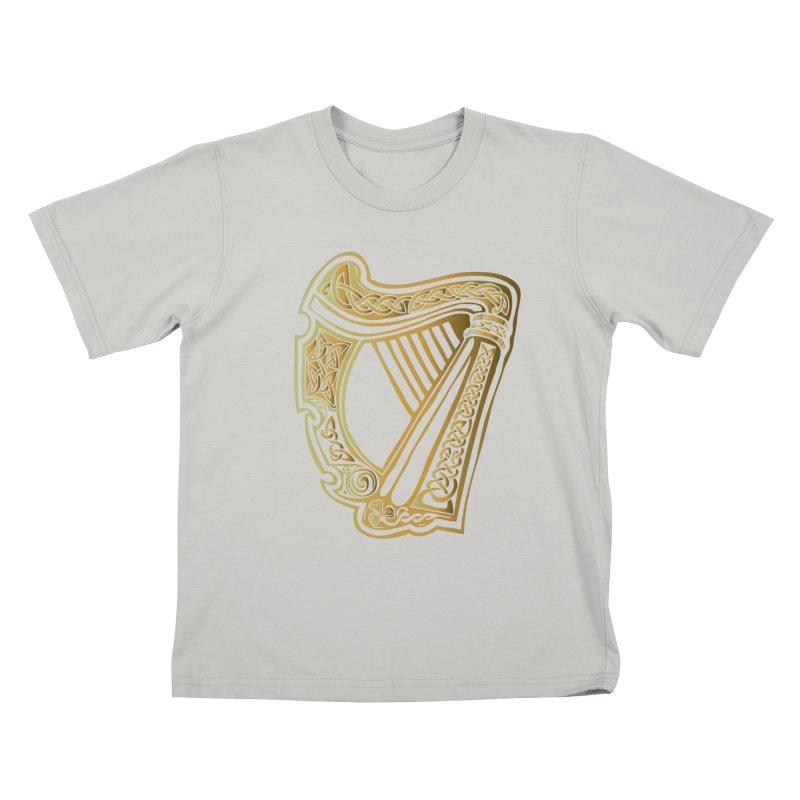 Celtic Harp (Gold) Kids T-Shirt by Celtic Hammer Club Apparel