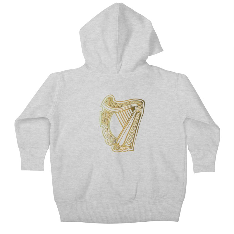 Celtic Harp (Gold) Kids Baby Zip-Up Hoody by Celtic Hammer Club Apparel