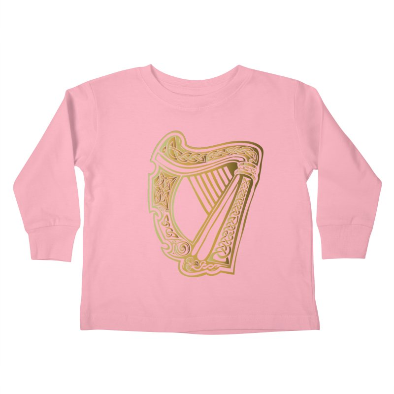 Celtic Harp (Gold) Kids Toddler Longsleeve T-Shirt by Celtic Hammer Club Apparel