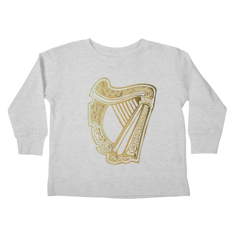 Celtic Harp (Gold) Kids Toddler Longsleeve T-Shirt by Celtic Hammer Club Apparel