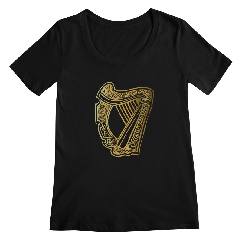 Celtic Harp (Gold) Women's Regular Scoop Neck by Celtic Hammer Club Apparel