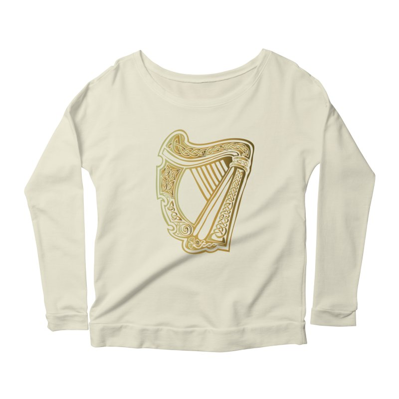 Celtic Harp (Gold) Women's Scoop Neck Longsleeve T-Shirt by Celtic Hammer Club Apparel