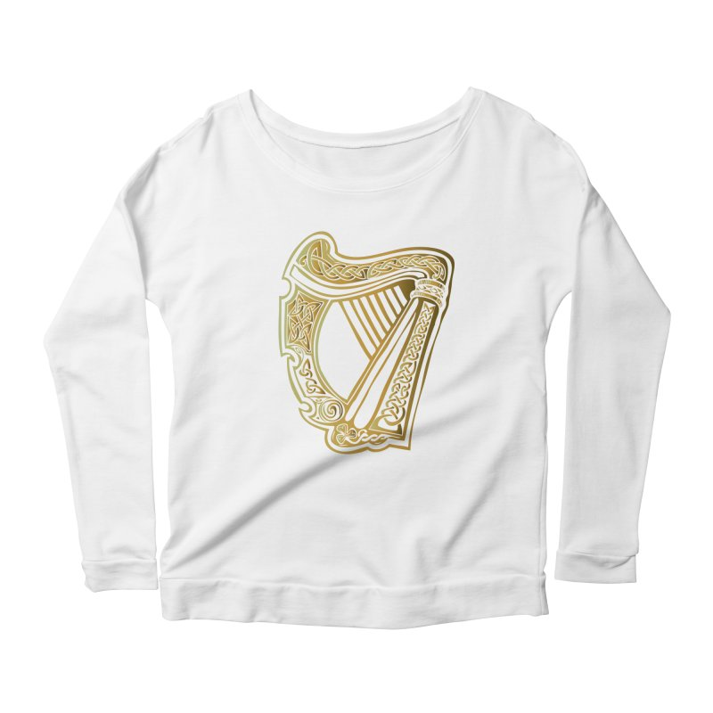 Celtic Harp (Gold) Women's Longsleeve Scoopneck  by Celtic Hammer Club Apparel