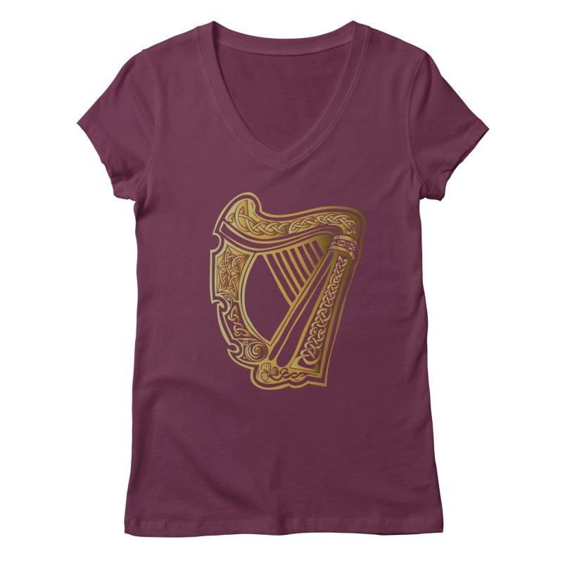 Celtic Harp (Gold) Women's Regular V-Neck by Celtic Hammer Club