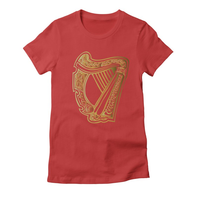Celtic Harp (Gold) Women's Fitted T-Shirt by Celtic Hammer Club Apparel