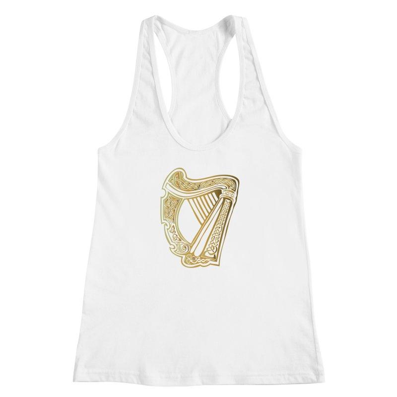 Celtic Harp (Gold) Women's Racerback Tank by Celtic Hammer Club Apparel