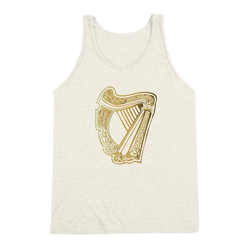 Celtic Harp (Gold) Men's Triblend Tank by Celtic Hammer Club Apparel