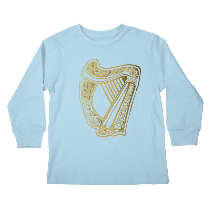 Celtic Harp (Gold) Kids Longsleeve T-Shirt by Celtic Hammer Club Apparel