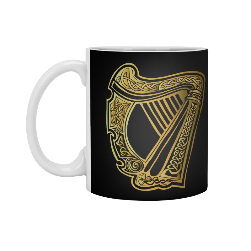 Celtic Harp (Gold) Accessories Mug by Celtic Hammer Club Apparel