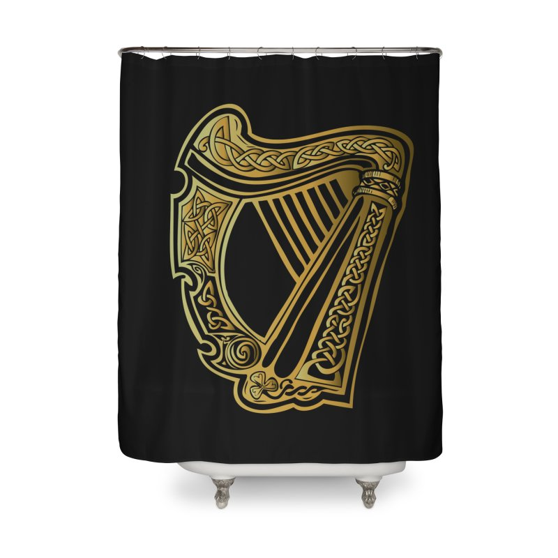 Celtic Harp (Gold) Home Shower Curtain by Celtic Hammer Club Apparel