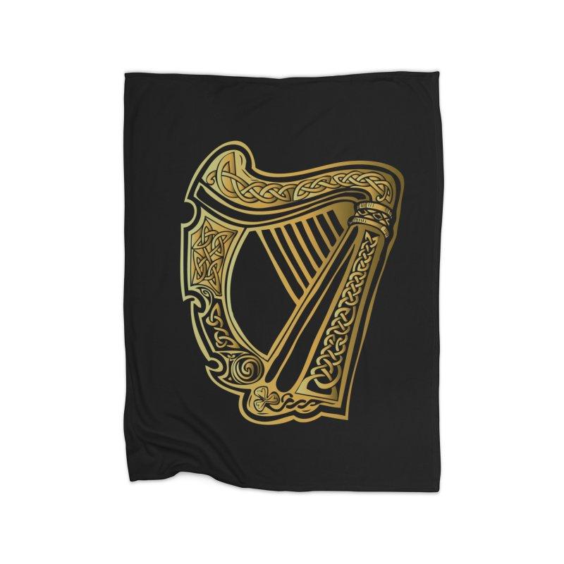 Celtic Harp (Gold) Home Blanket by Celtic Hammer Club Apparel