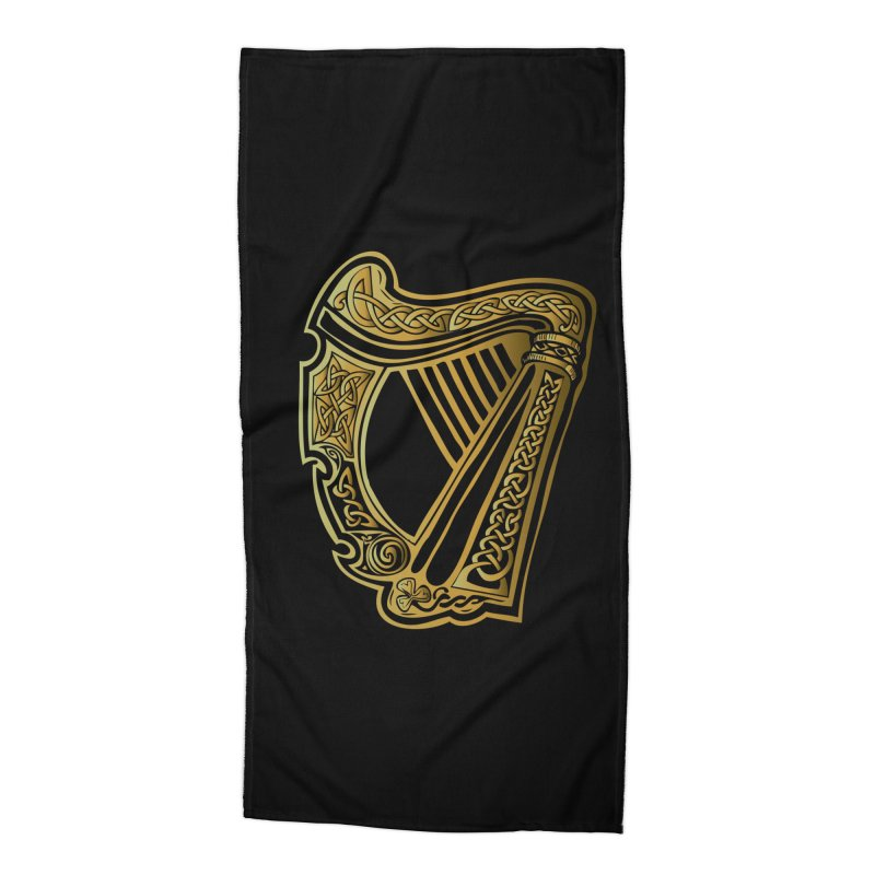 Celtic Harp (Gold) Accessories Beach Towel by Celtic Hammer Club Apparel