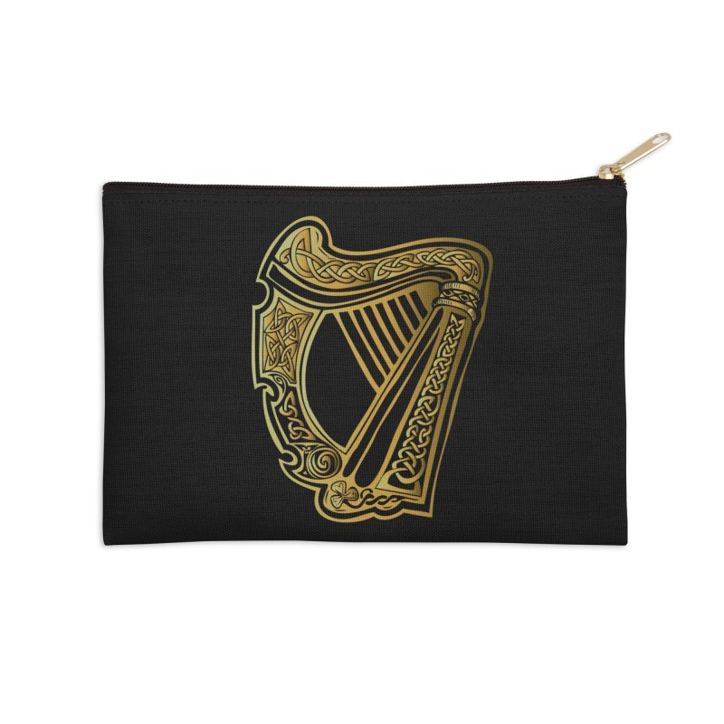 Celtic Harp (Gold) Accessories Zip Pouch by Celtic Hammer Club Apparel