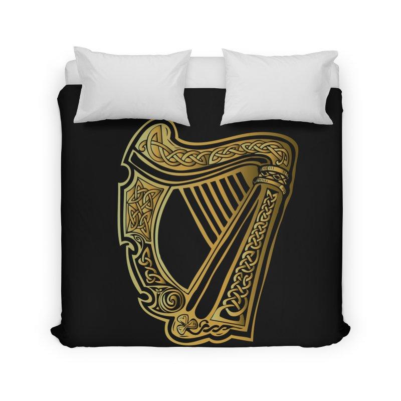 Celtic Harp (Gold) Home Duvet by Celtic Hammer Club Apparel