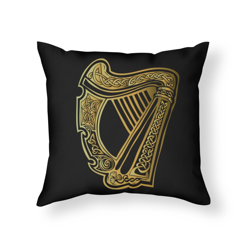 Celtic Harp (Gold) Home Throw Pillow by Celtic Hammer Club Apparel