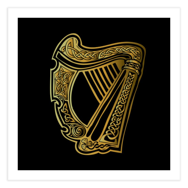Celtic Harp (Gold) Home Fine Art Print by Celtic Hammer Club Apparel