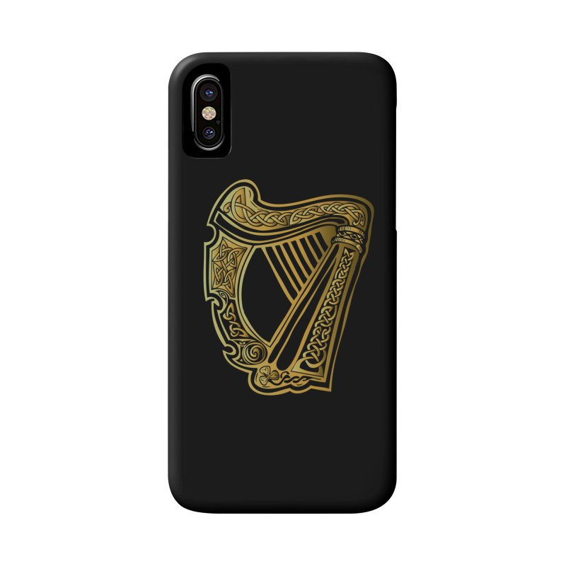 Celtic Harp (Gold) Accessories Phone Case by Celtic Hammer Club Apparel