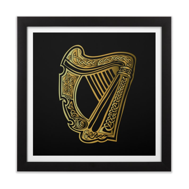 Celtic Harp (Gold) Home Framed Fine Art Print by Celtic Hammer Club Apparel