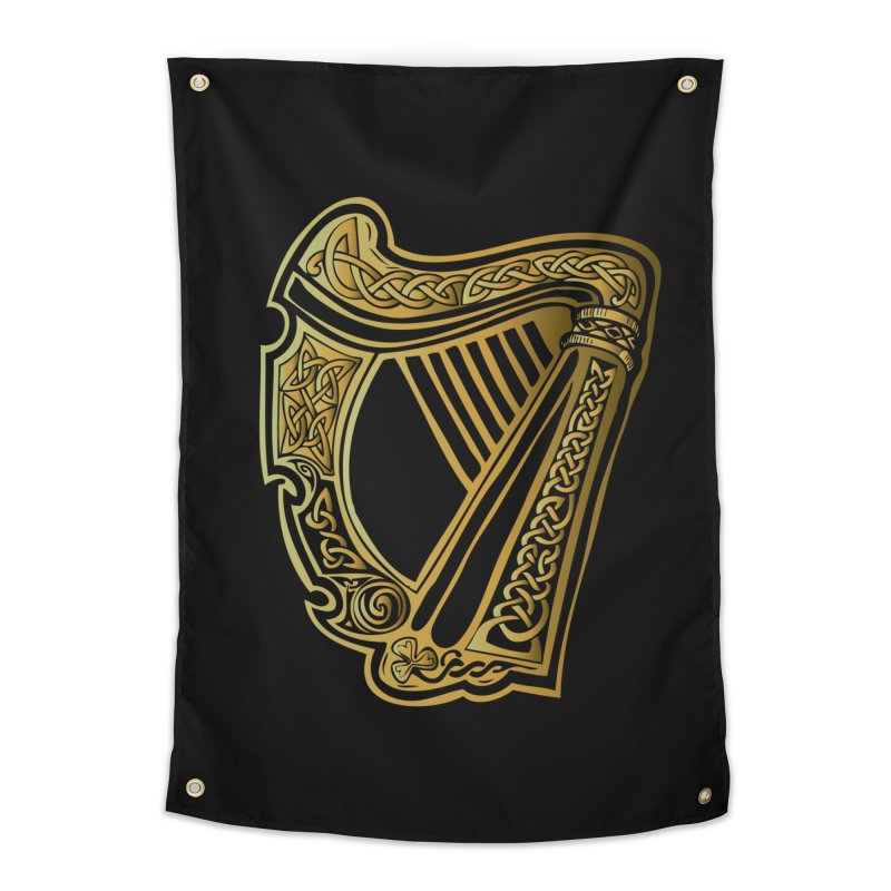 Celtic Harp (Gold) Home Tapestry by Celtic Hammer Club Apparel