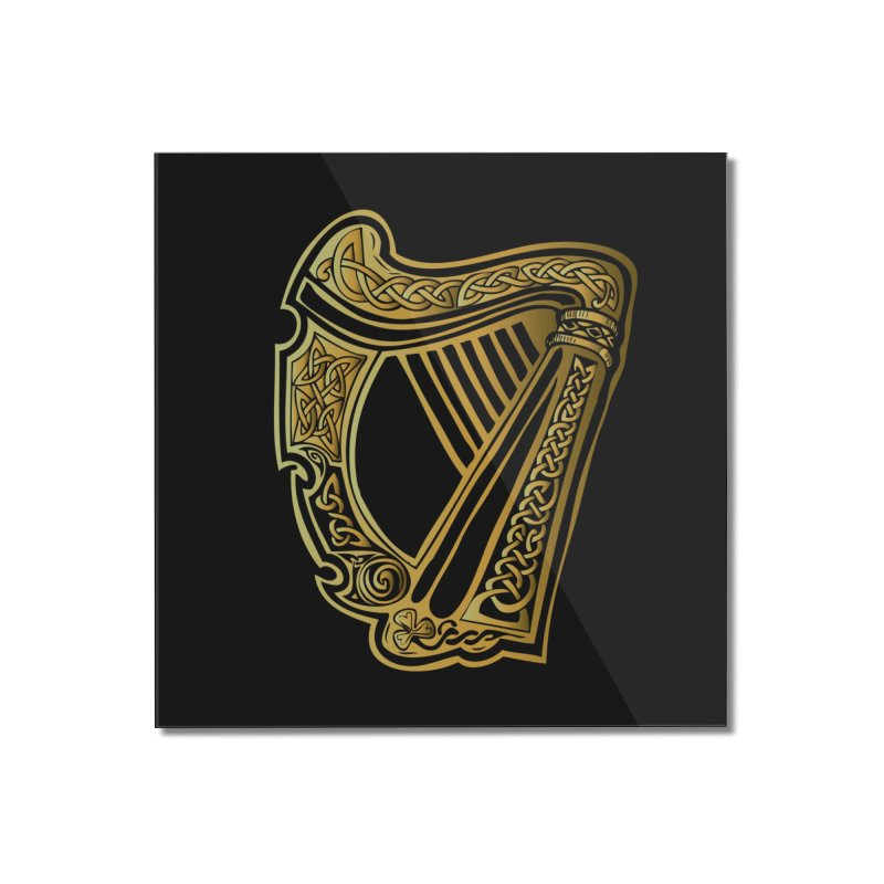 Celtic Harp (Gold) Home Mounted Acrylic Print by Celtic Hammer Club Apparel