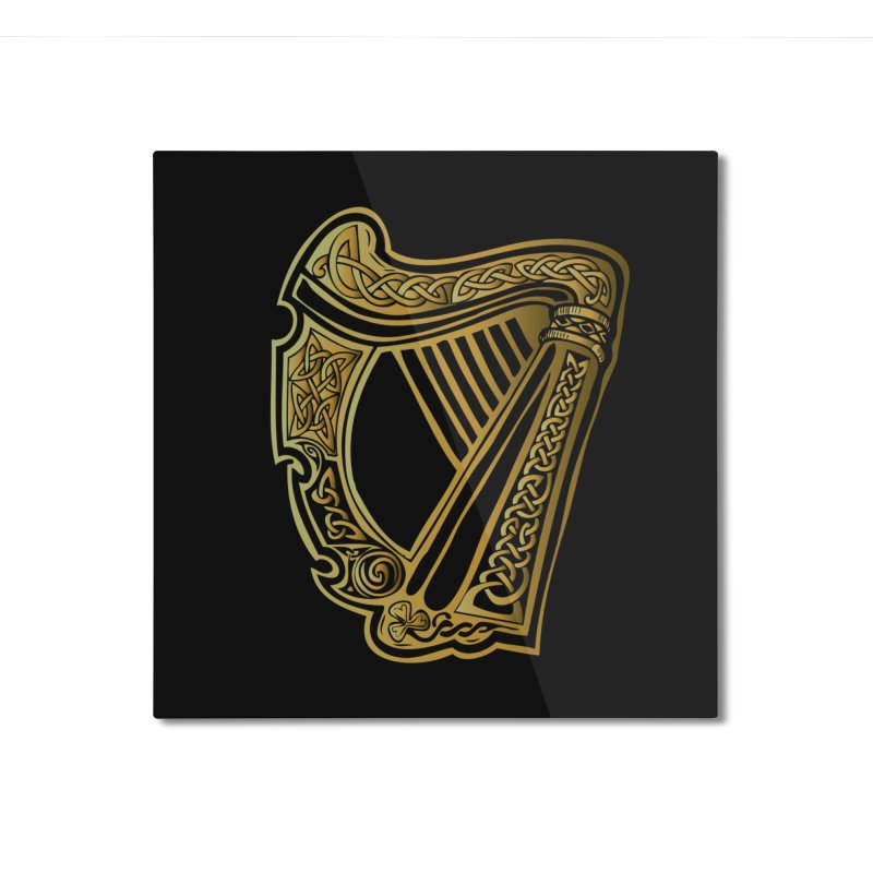 Celtic Harp (Gold) Home Mounted Aluminum Print by Celtic Hammer Club Apparel