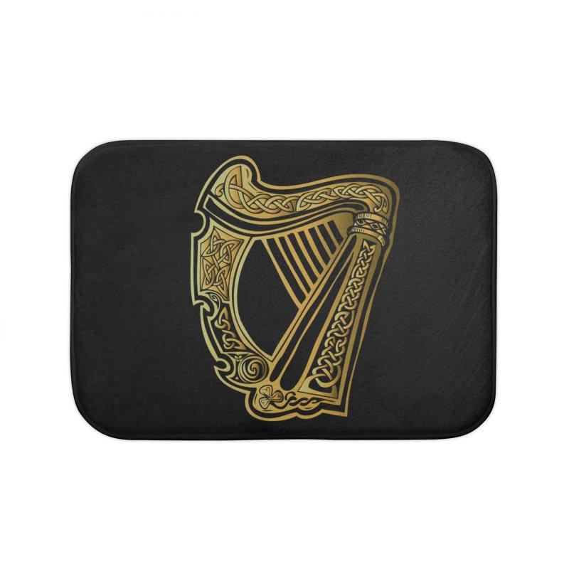Celtic Harp (Gold) Home Bath Mat by Celtic Hammer Club Apparel