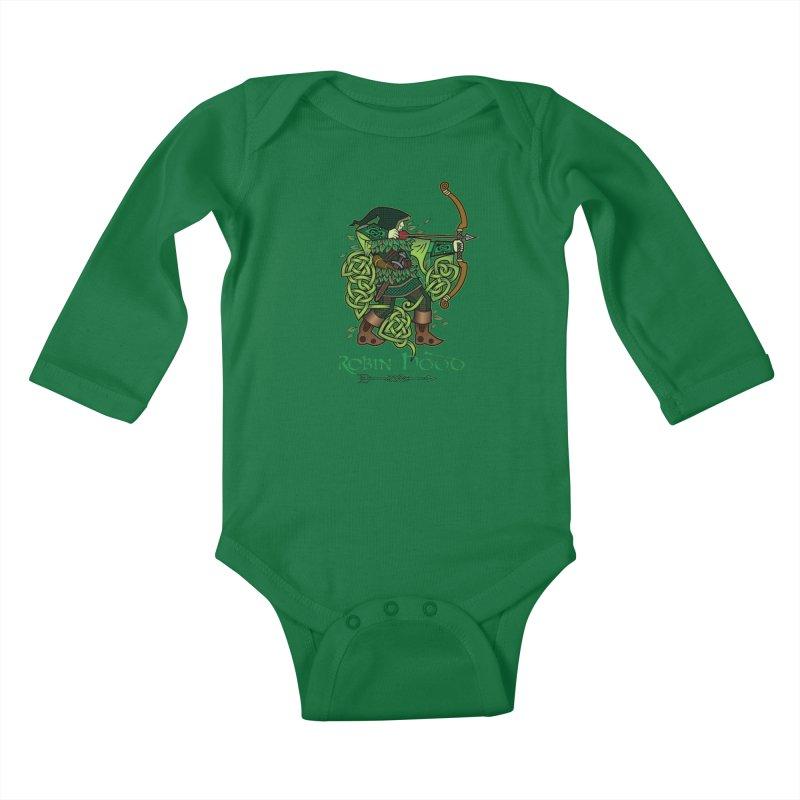 Robin Hood (Full Color Version) Kids Baby Longsleeve Bodysuit by Celtic Hammer Club Apparel