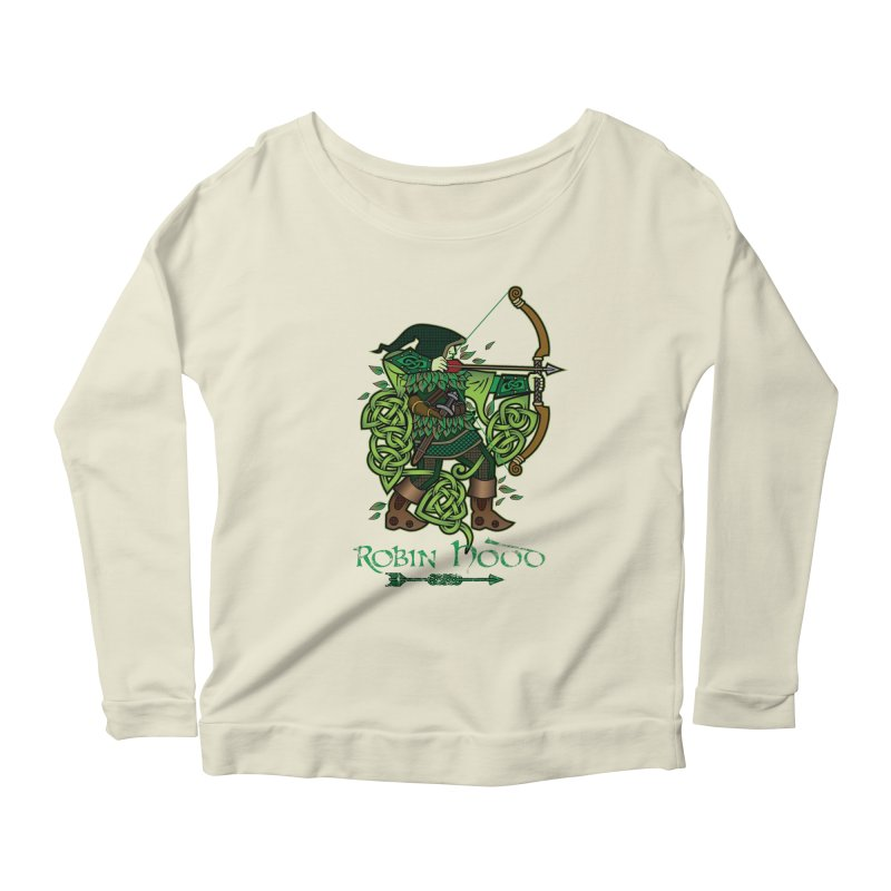 Robin Hood (Full Color Version) Women's Scoop Neck Longsleeve T-Shirt by Celtic Hammer Club Apparel