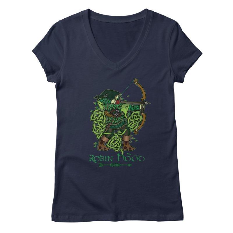 Robin Hood (Full Color Version) Women's Regular V-Neck by Celtic Hammer Club Apparel