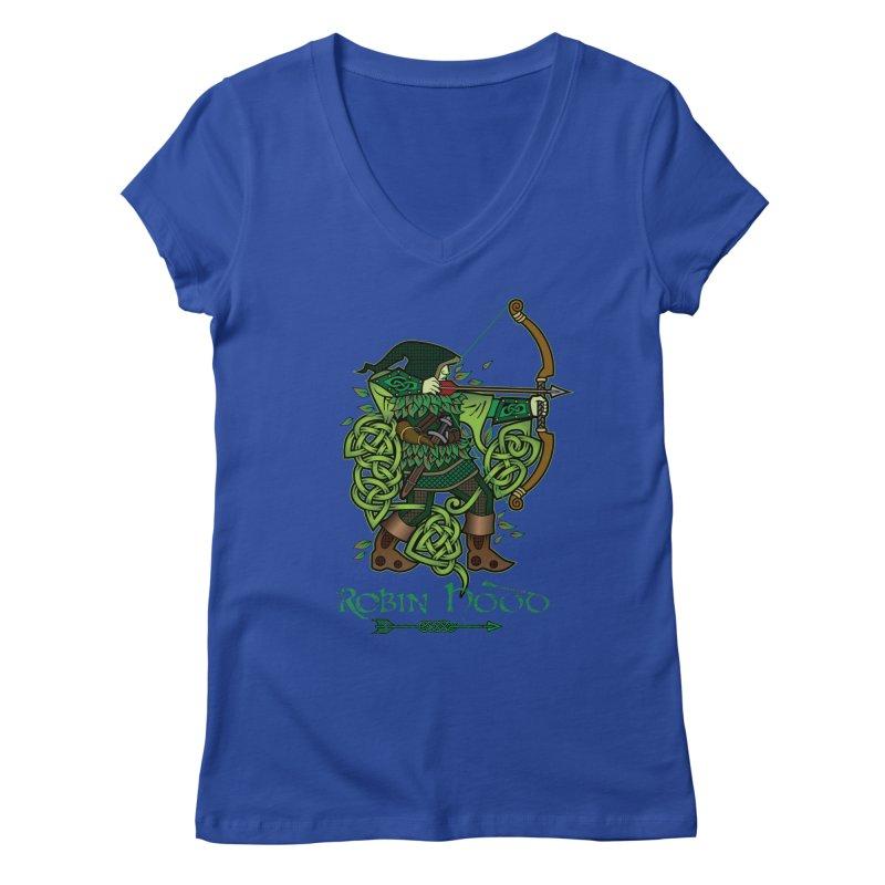 Robin Hood (Full Color Version) Women's V-Neck by Celtic Hammer Club Apparel
