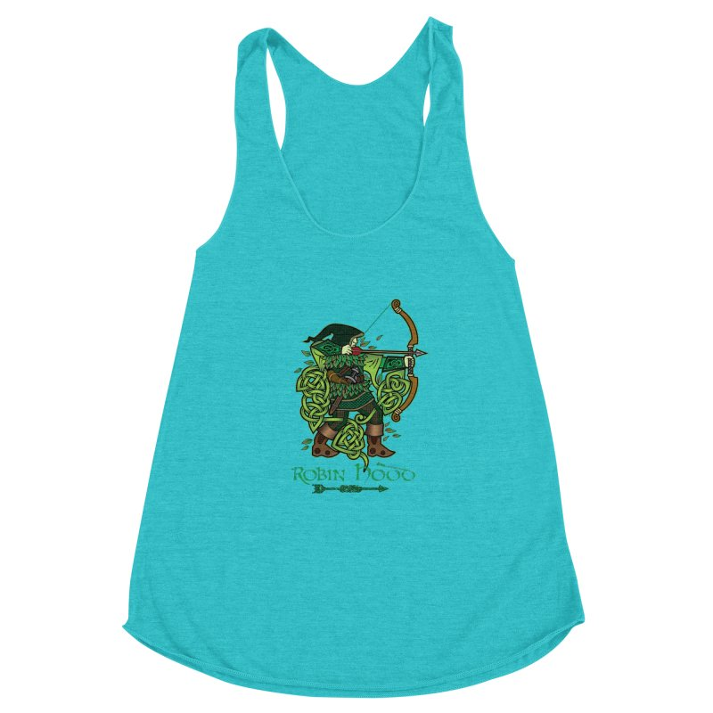 Robin Hood (Full Color Version) Women's Racerback Triblend Tank by Celtic Hammer Club Apparel