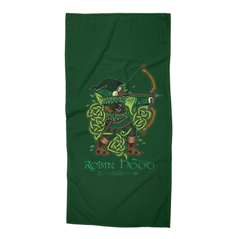Robin Hood (Full Color Version) Accessories Beach Towel by Celtic Hammer Club Apparel