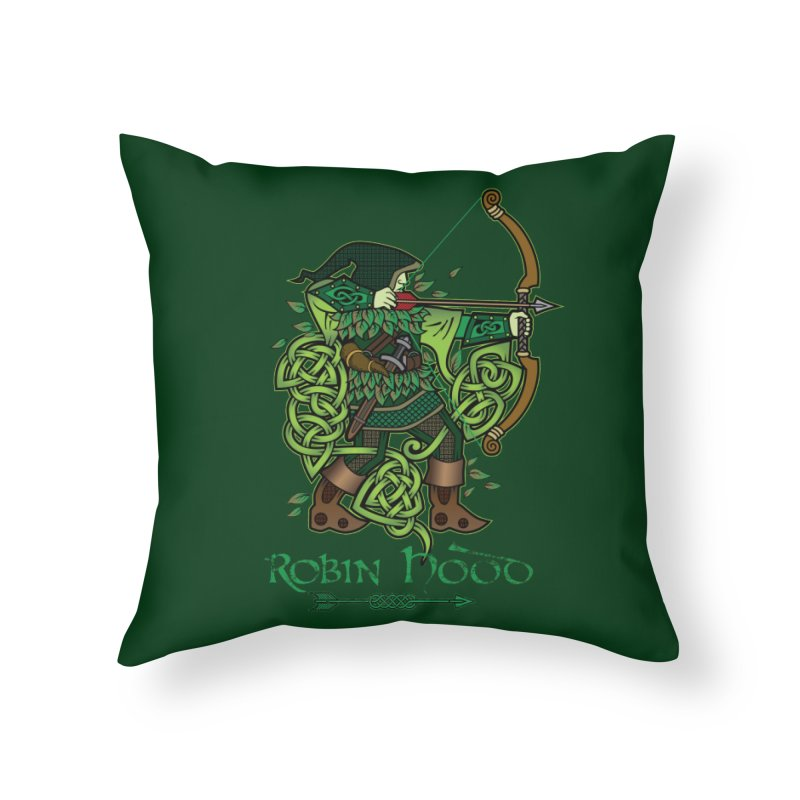 Robin Hood (Full Color Version) Home Throw Pillow by Celtic Hammer Club Apparel