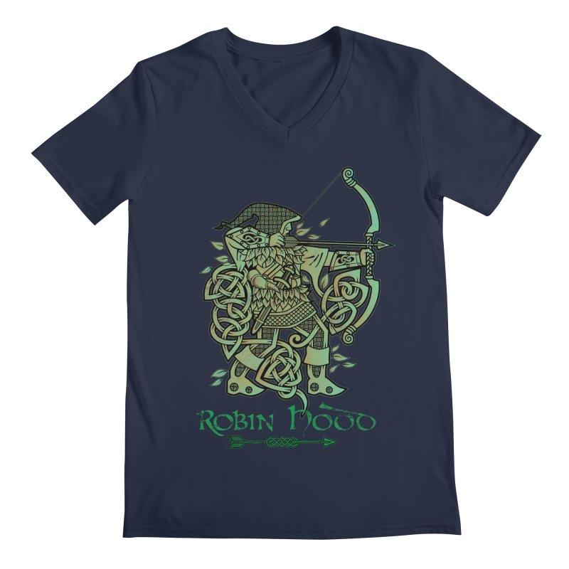 Robin Hood (Green Copper Version) Men's Regular V-Neck by Celtic Hammer Club Apparel