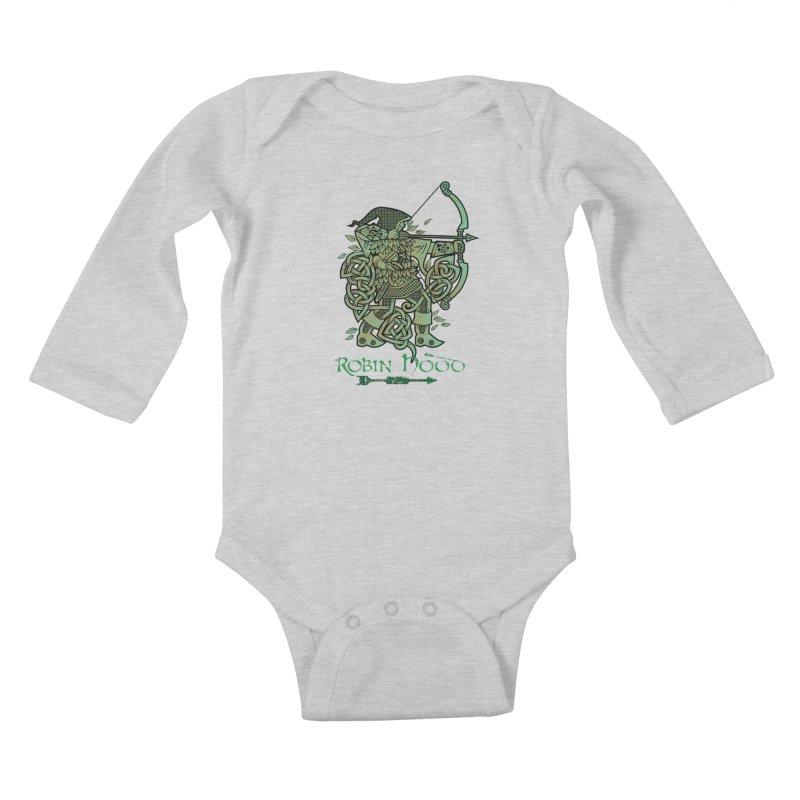 Robin Hood (Green Copper Version) Kids Baby Longsleeve Bodysuit by Celtic Hammer Club Apparel